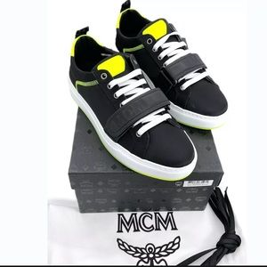 MCM Authentic Neon Low Top Strap Sneakers NWB